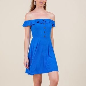 Beautiful Blue Ruffle Across The Shoulder Dress